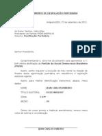 REQUERIMENTO DE DESFILIAÇÃO PARTIDÁRIA
