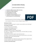 Curriculum or Syllabus Planning