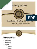 Secretary's Circle Briefing - October 26, 2011