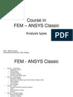 FEM ANSYS Classic Analysis Types