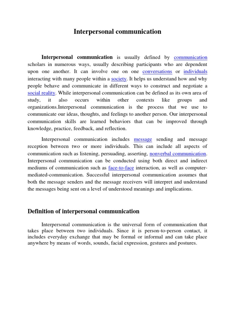 interpersonal communication | interpersonal communication
