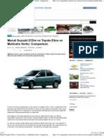 Maruti Suzuzki D'Zire vs Toyota Etios vs Mahindra Verito_ Comparison