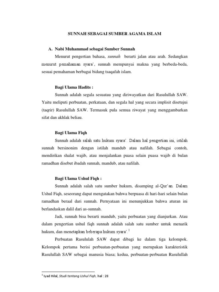 Makalah Metode Studi Islam Tentang Sunnah Sebagai Sumber Agama Islam
