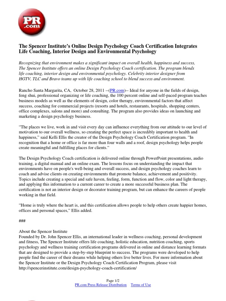 The spencer institutes online design psychology coach the spencer institutes online design psychology coach certification integrates life coaching interior design and environmental psychology interior 1betcityfo Images