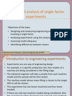 Design and Analysis of Single Factor Experiments
