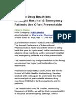Adverse Drug Reactions Amongst Hospital