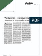 Nelle sanità 15mila persone in esubero - Repubblica 28/10/2011