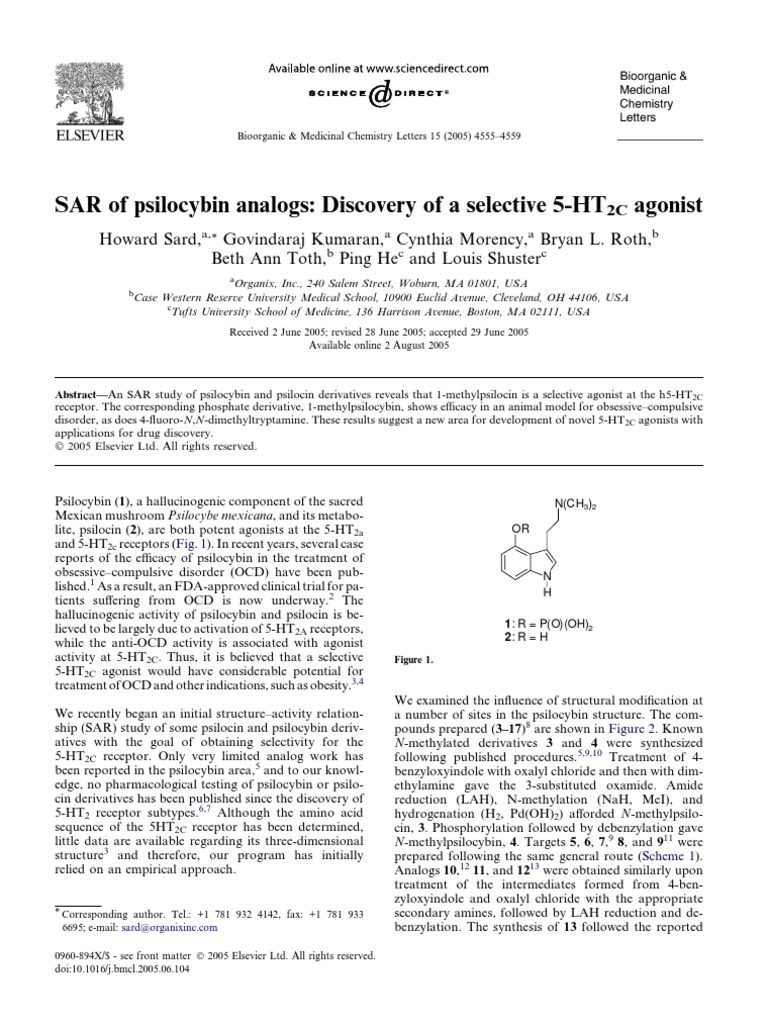 SAR of Psilocybin Analogs Discovery of a Selective 5 Ht2c Agonist