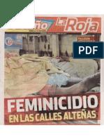 Feminicidio en las calles alteñas