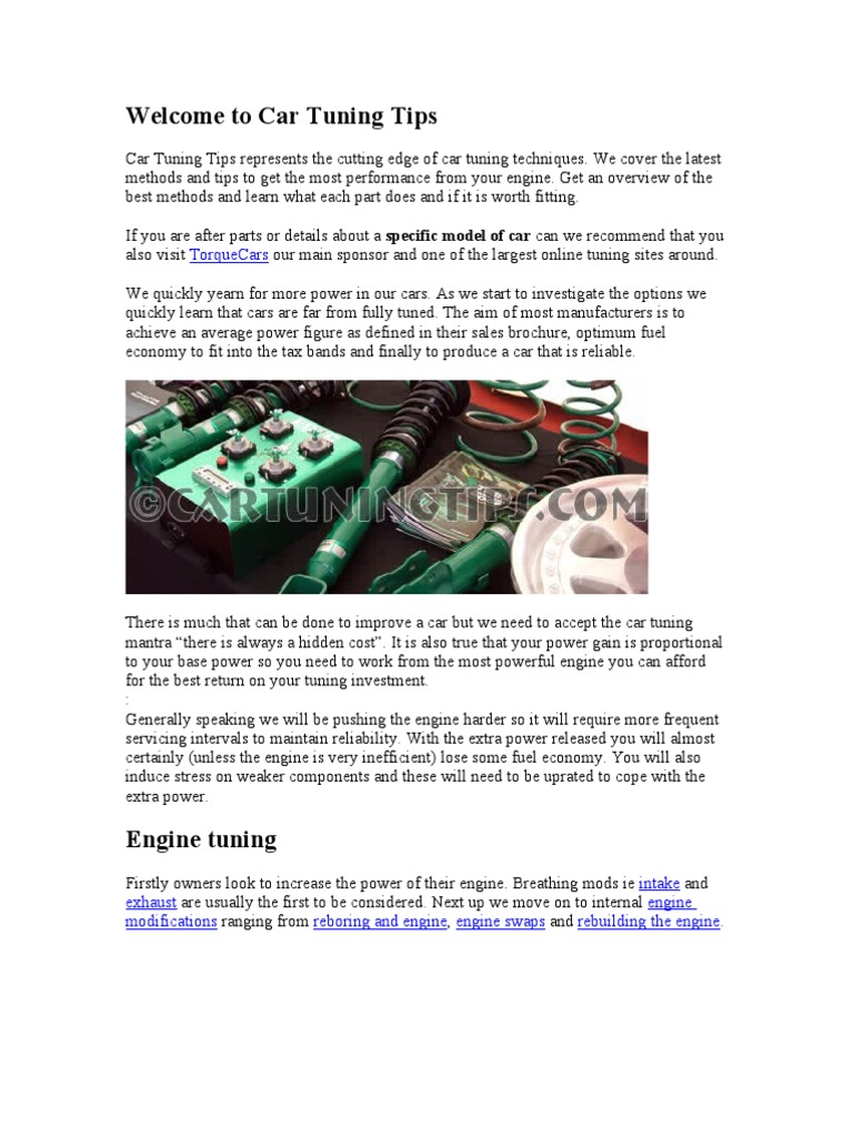 Welcome to Car Tuning Tips | Internal Combustion Engine