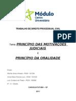 TRABALHO DE DIREITO PROCESSUAL CIVIL PRINCÍPIOS