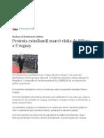 28-10-11 Protesta estudiantil marcó visita de Piñera a Uruguay