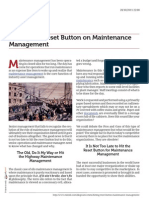 Resetting Maintenance Management