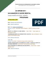 Programa Definitivo do Congresso da SPESM 2011