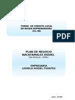 Plan de Negocio Modelo Nacatamales