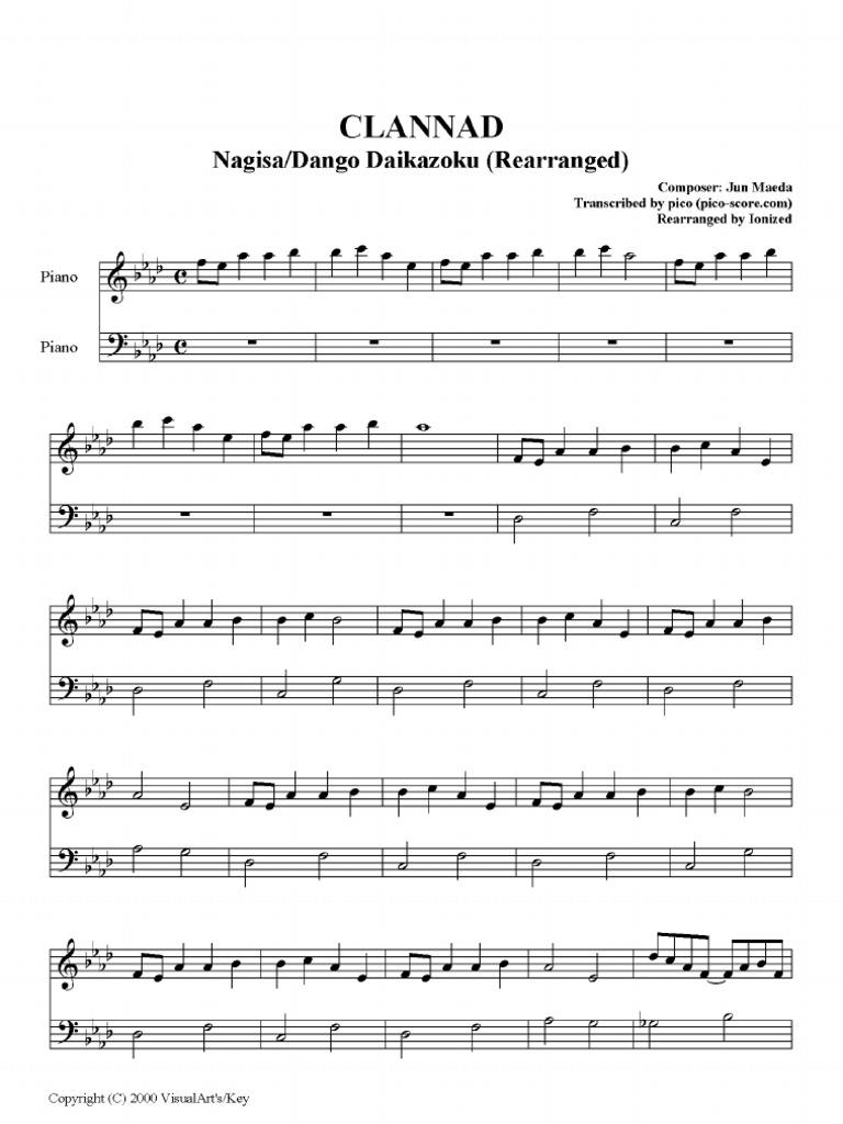 Dango Daikazoku Piano Sheet
