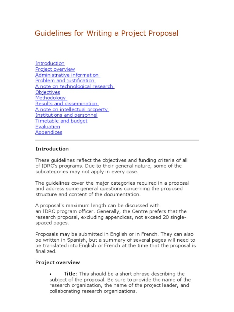 guidelines for writing a project proposal survey methodology cost - How To Write A Project Proposal