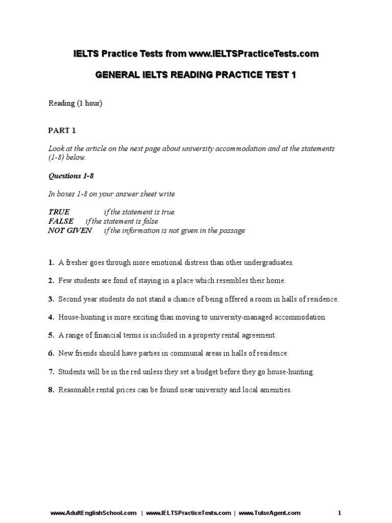 General Ielts Practice Test 1 Reading Writing Speaking