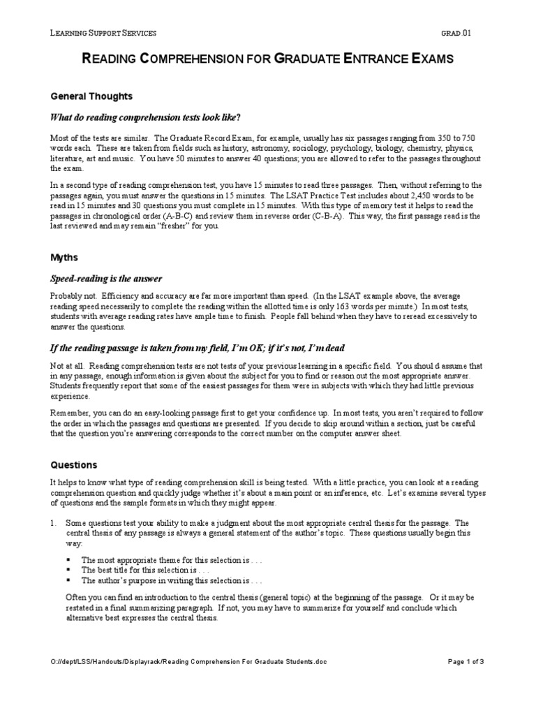 Worksheet Comprehension Passages With Questions reading comprehension for graduate students test assessment comprehension