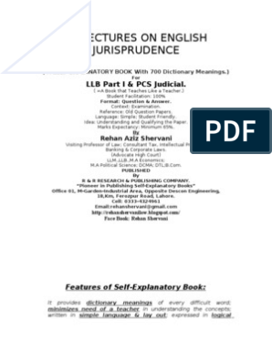 English Jurisprudence-Free Lectures From the Book 29 Lectures on