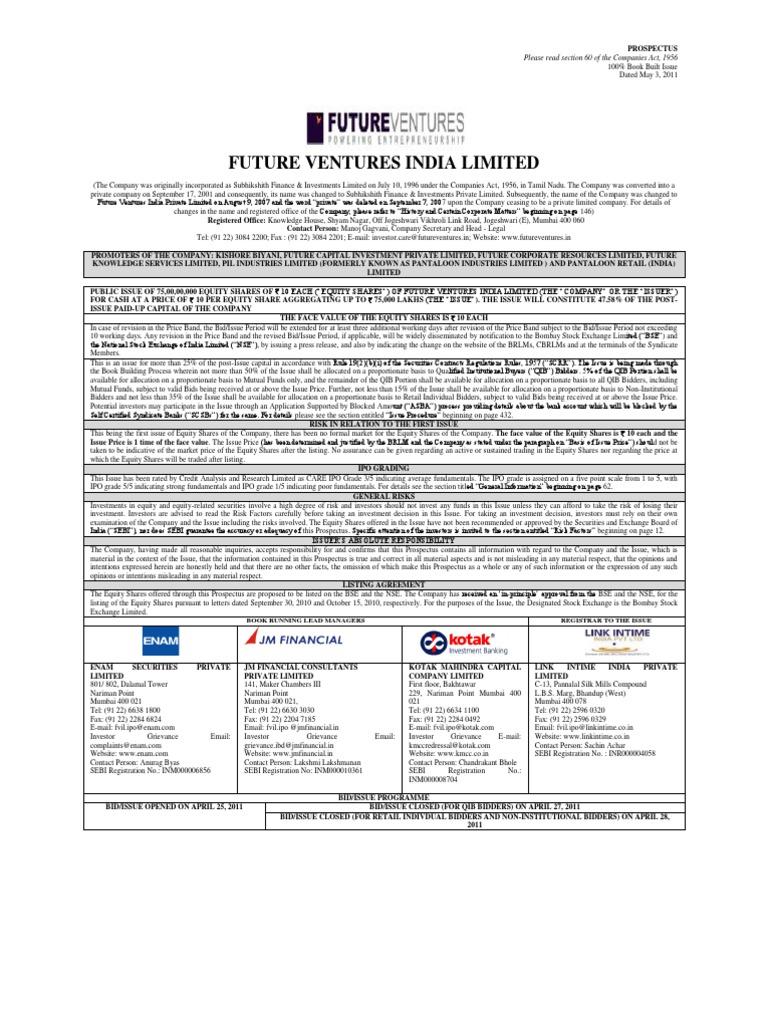 Future Ventures Ipo Stocks Securities Finance
