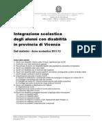 Integrazione Scolastica UST Vicenza Report Statistico 2011 12