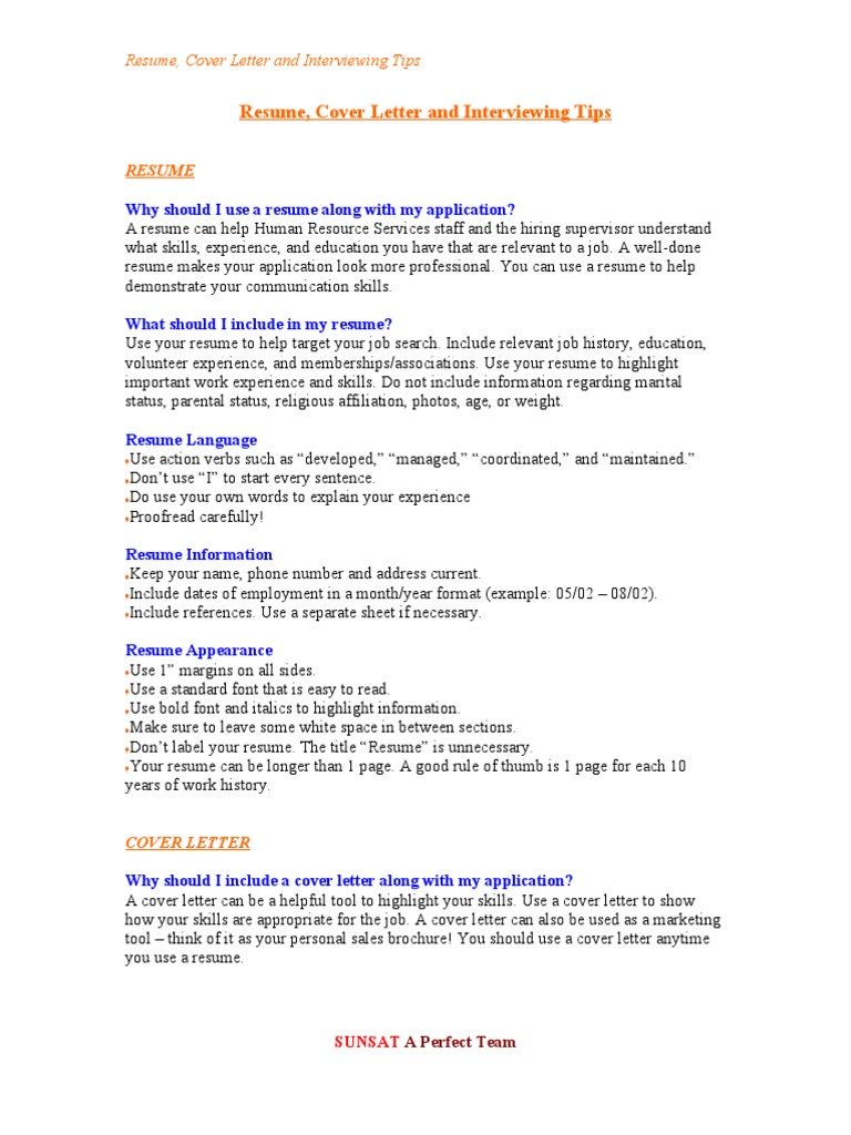 Resume Cover Letter And Interviewing Tips Resume Interview