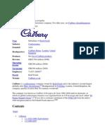 Cadbury History at a Glance