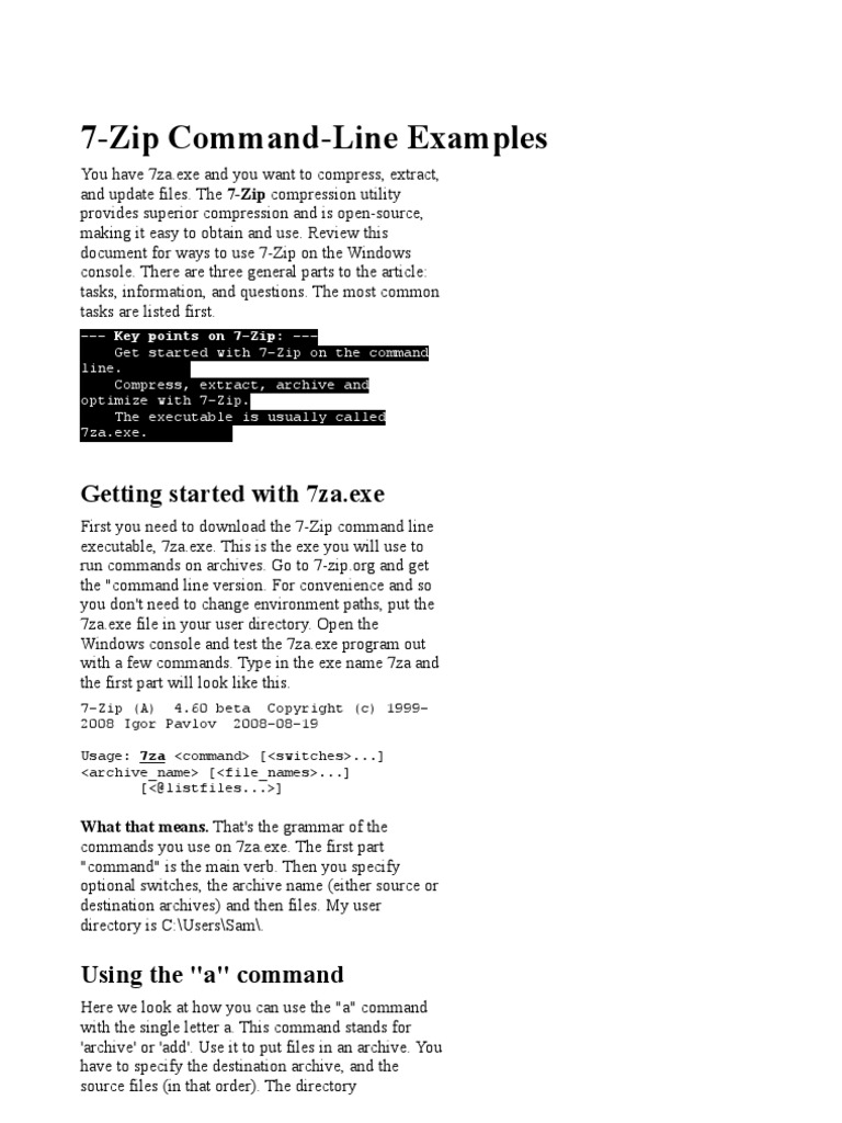parametros 7ZIP | Zip (File Format) | Command Line Interface