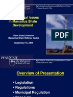 Current Legal Issues in Marcellus Shale Development, September 2011