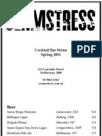 Seamstress Cocktail Menu Nov 2011
