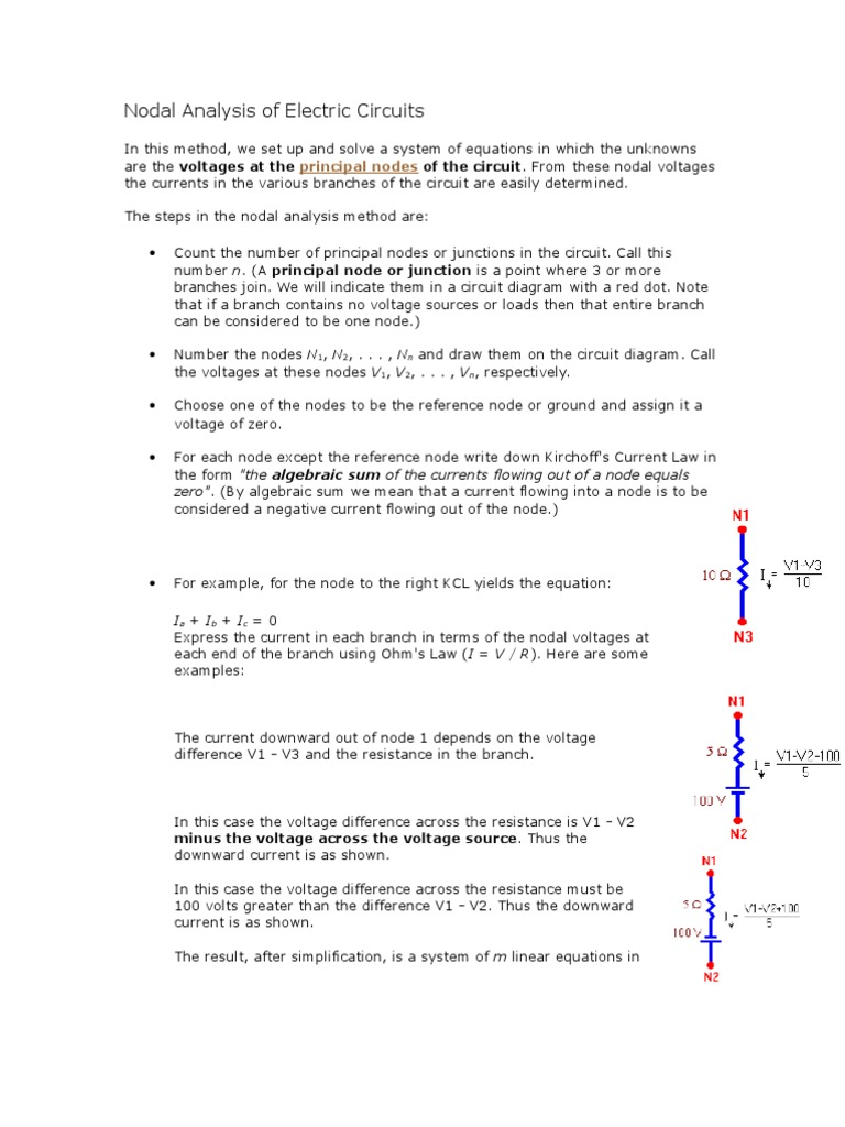 Nodal Analysis Of Electric Circuits Electrical Network Equations Circuit Diagram Voltage Source