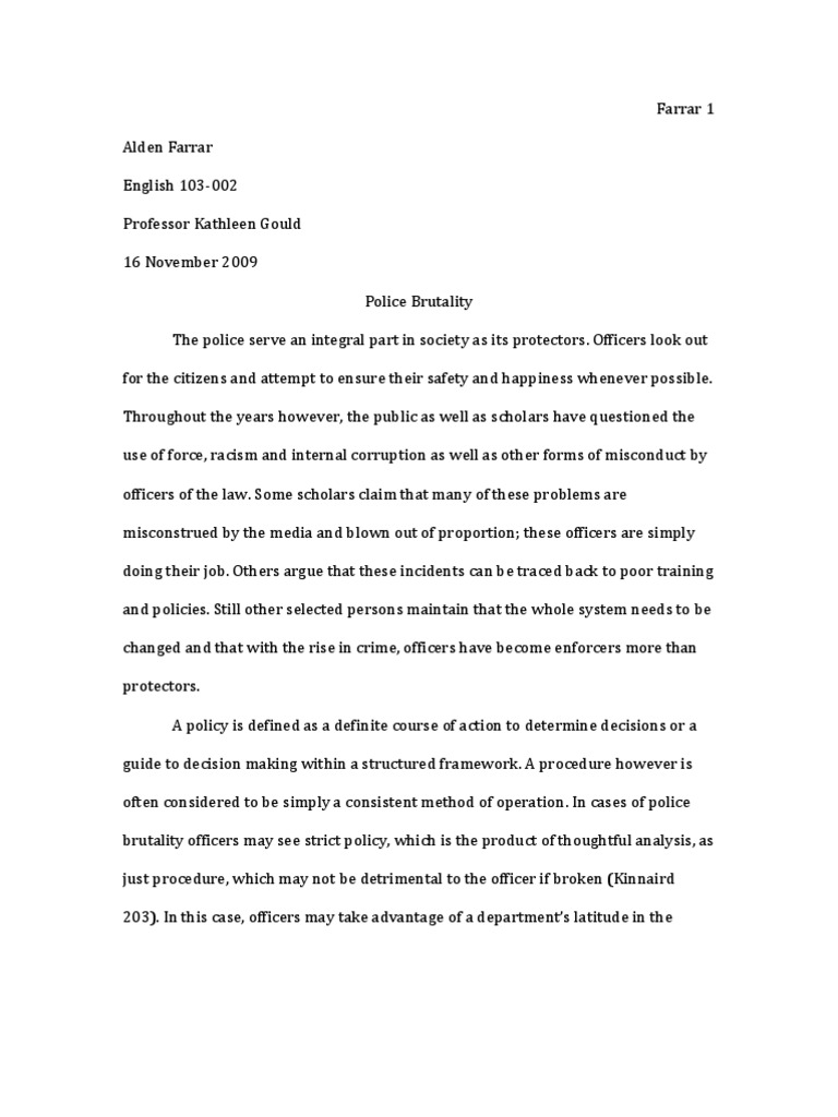 Argumentative Essay On Police Brutality  Argumentative Essay On Police Brutality