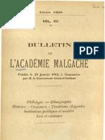 Bulletin de l'Académie Malgache VII - 1909