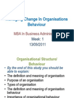 Managing Change in Organ is at Ions Behaviour - Week 1