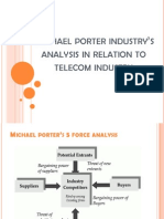 Michael porter industry's analysis in relation to
