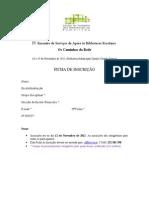 Ficha de Inscrição IV Encontro