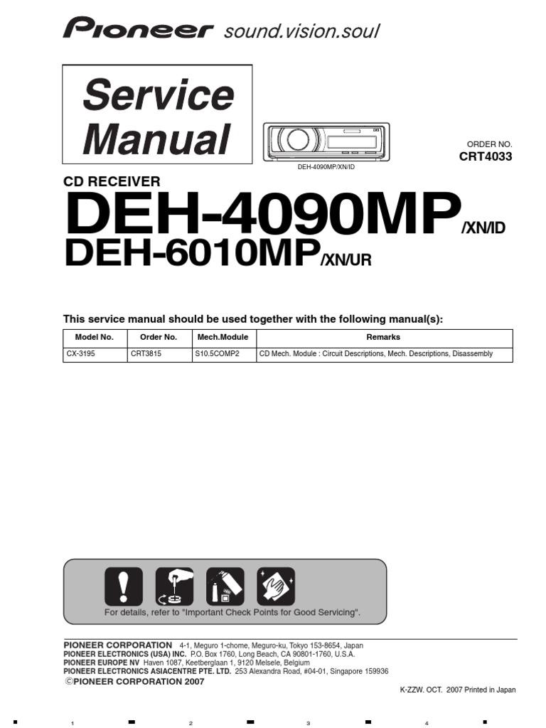 Инструкция pioneer deh 6010 mp