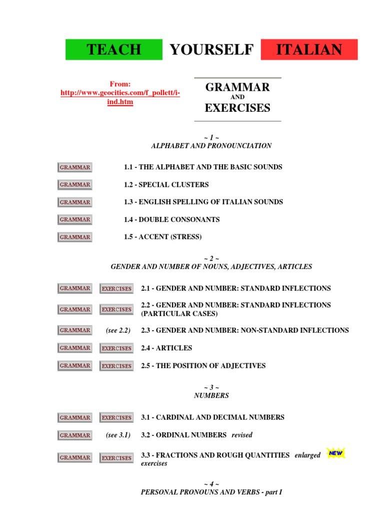 Italian Grammar Teach Yourself Italian Grammatical Gender Verb