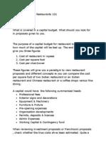 Capital Budget for Restaurant