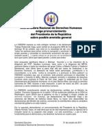 CNDDHH Pronunciamiento contra Rudecindo Vega - Amnistía