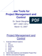New Tools for Project management and Control. Sarah Slaughter