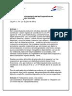 Constitución y Funcionamiento de las Cooperativas de Producción o Trabajo Asociado
