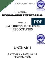 Negociación Empresarial Unidad 1 Negociación