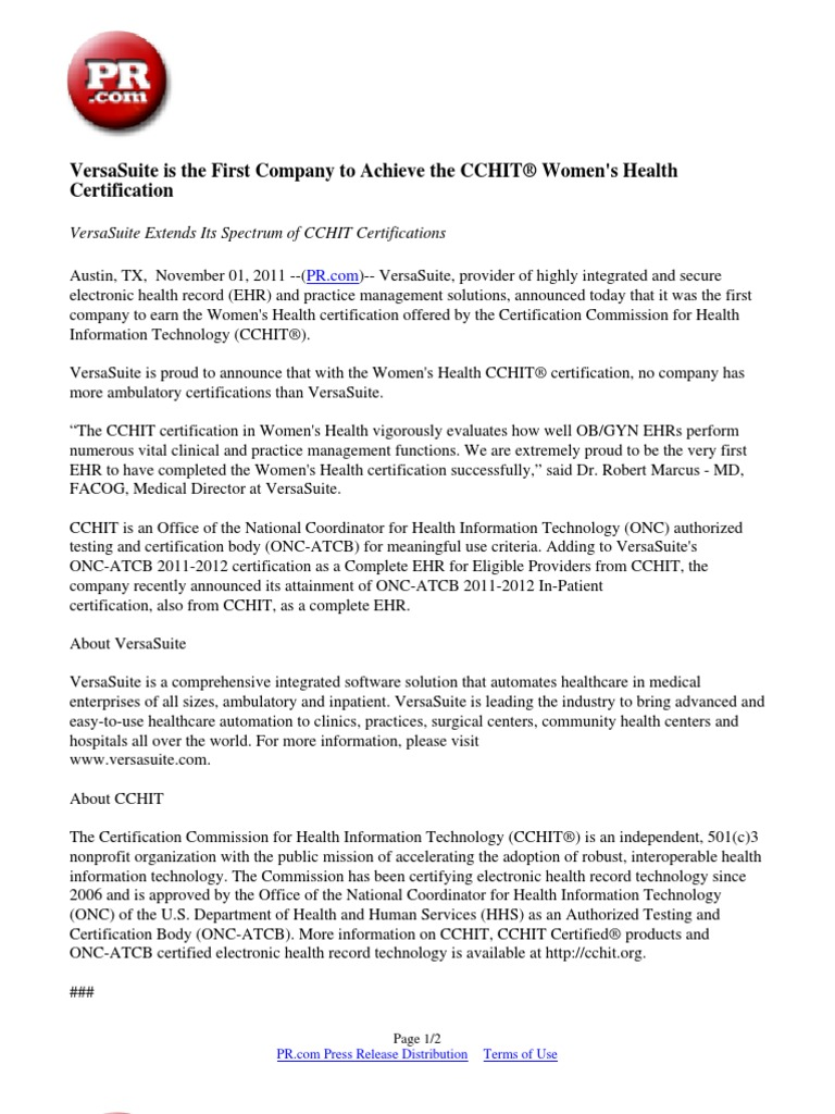 Versasuite is the first company to achieve the cchit womens versasuite is the first company to achieve the cchit womens health certification electronic health record health informatics 1betcityfo Image collections