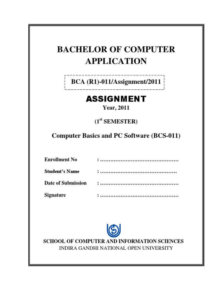 Title page of ignou bca first semester assignments for Assignment front page decoration