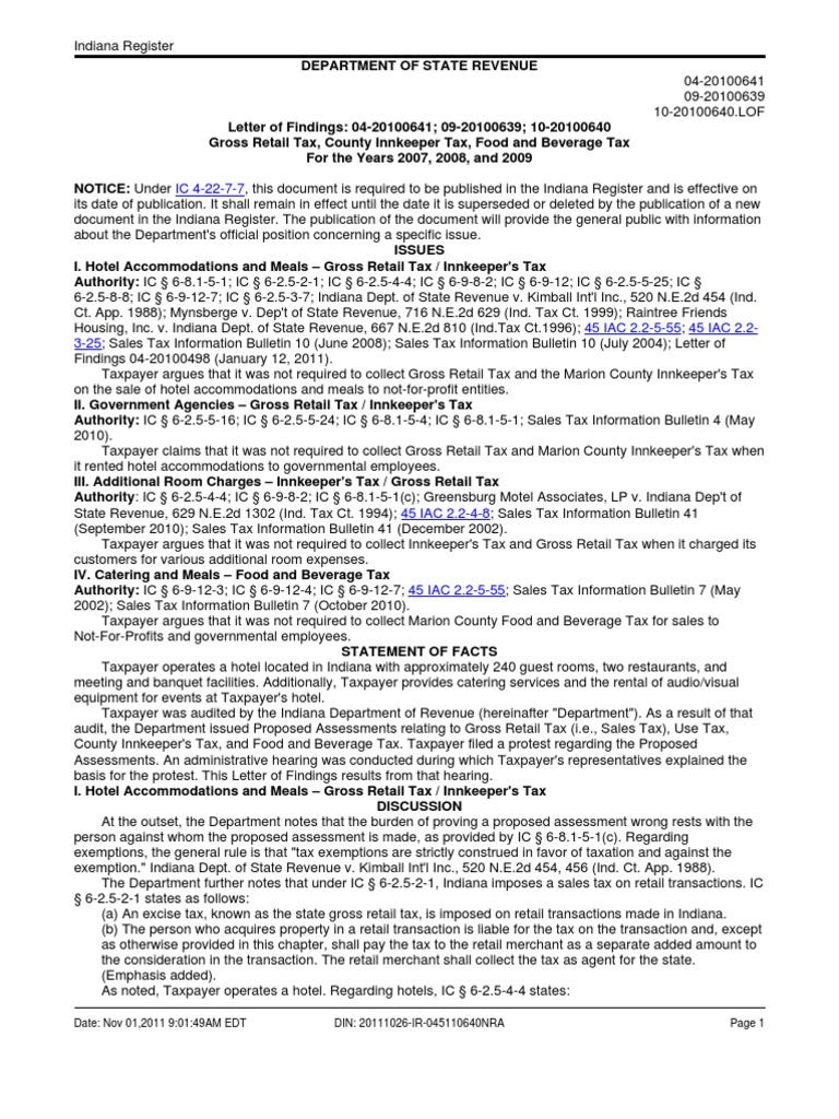 Indiana Dor Letter Of Findings 04 20100641 09 20100639 10