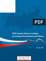 VTB Capital - Russia Calling! Investment Forum Research Notes