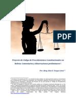 Proyecto de Código de Procedimientos Constitucionales en Bolivia - Comentarios y Observaciones preliminares