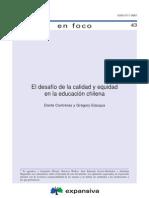 El Desafio de La Calidad y Equidad de La Educacion Chilena